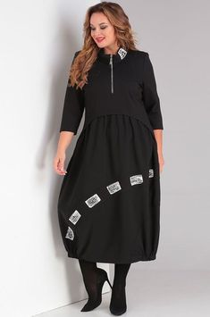 Платье Rishelie, черный (модель 721) — Белорусский трикотаж в интернет-магазине «Швейная традиция» Fashion Wear, Sport Fashion, Hijab Fashion, Womens Fashion, Big Size Dress, Godly Woman, Night Gown, Trendy Outfits, Dresses For Work