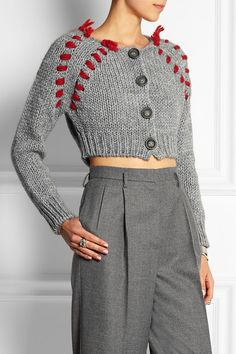 Gray and red chunky-knit  Button fastenings through front 50% acrylic, 25% alpaca, 25% wool Hand wash
