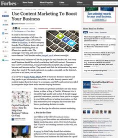 "Forbes.com - Use Content Marketing to Boost Your Business. Article covering the merits of Content Marketing quoting TopRank Online Marketing CEO, Lee Odden:   Lee Odden is the CEO of TopRank Online Marketing and has written an authoritative blog on digital marketing since 2003. He's fond of saying that ""if you're not creating content on the web, you don't exist."""