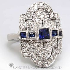 Retro 1.00ctw Sapphire & Diamond Milgrain Dinner Ring 14K White Gold