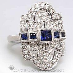 Retro 1.00ctw Sapphire & Diamond Milgrain Dinner Ring 14K White Gold