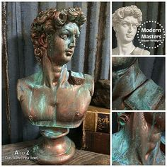 transforming a plaster bust with copper verdigris, painting, repurposing upcycling Faux Painting, Painting Tips, Painting Techniques, Stencil Painting, Patina Paint, Copper Paint, Patina Finish, Modern Masters, Stencils