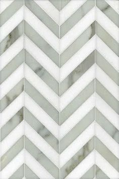 in love with this chevron tile. So perfect! White marble with grey loveee