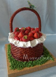 basket cake w strawberries & ruffle Basket Weave Cake, Flower Basket Cake, Cake Basket, Cupcakes, Cupcake Cakes, Bolo Floral, Realistic Cakes, Sculpted Cakes, Just Cakes