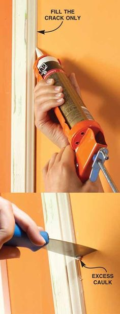 Home Remodeling Diy Run a Crisp Bead of Caulk Between Woodwork and Walls - Great ideas for how to get a perfectly smooth and even paint job. Home Renovation, Home Remodeling, Painting Tips, House Painting, Prepping Walls For Painting, Painting Woodwork, Home Improvement Projects, Home Projects, Home Fix