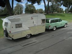1958 Shasta Airflyte  [1965 Jeep Wagoneer tow]---would love to own both of these!!! ms