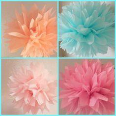 Bridal Shower Decor 10 Tissue Poms Girl Baby by PomGoddess on Etsy, $24.00