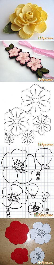Discover thousands of images about Flores Faux Flowers, Diy Flowers, Fabric Flowers, Paper Flowers, Felt Patterns, Flower Patterns, Felt Diy, Felt Crafts, Fleurs Diy