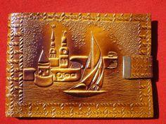 Soviet / Latvian Vintage Leather Wallet; old Riga scene