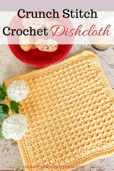 This is an extra large dishcloth that is super easy because it requires only the slip stitch and half double crochet to create an intricate looking crunch stitch.  Plus, it has a fabulous texture.  So great for  great for scrubbing Crochet Kitchen, Crochet Home, Crochet Crafts, Crochet Projects, Knitting Projects, Quick Crochet, Free Crochet, Crochet Geek, Easy Crochet Patterns