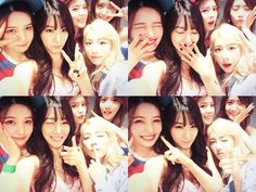 Check out SNSD TaeYeon, Tiffany and YoonA's photos together with Red Velvet's Joy and Irene