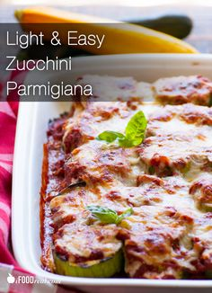 Light Zucchini Parmigiana - layers of grilled sliced zucchini, topped with to-die-for homemade balsamic tomato sauce and of course cheese, low fat mozzarella and Parmigiano Reggiano.