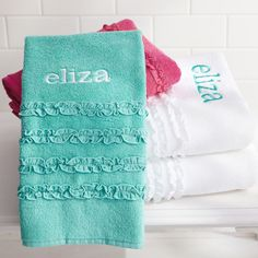 DIY Ruffle Towels - cute for a spa party...gift with each girls name on it!!!