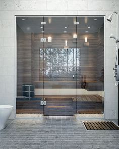 Steam Room Shower, Sauna Steam Room, Sauna Room, Home Spa Room, Spa Rooms, Modern Saunas, Portable Sauna, Vancouver House, Sauna Design