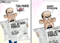 Enemy Number One:In spite of the Paris terrorist attack, the GOP remains as Obama's number one enemy. Political cartoon by A.F. Branco ©2015