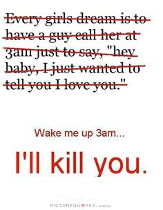 Wake me up at 3am, I'll kill you. Picture Quotes.