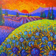Sunflowers And Lavender Fields With Cypress Trees At Sunset Abstract Impressionist Landscape Painting by Ana Maria Edulescu