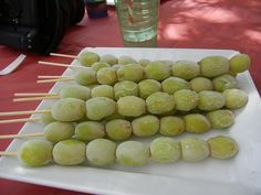 For a refreshing and delish treat, place a line of grapes on a skewer, pop them in the fridge, and serve them as frozen grape kebabs at a party.