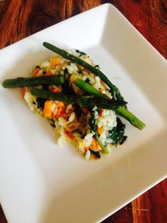 Spinach,garlic,carrot and capsicum risotto