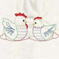 Free Embroidery Design: Colorline Folk Art Chickens