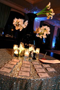 Love this sequin linen on Kordell & Porsha Stewart's escort card. Wedding by Tiffany Cook Events