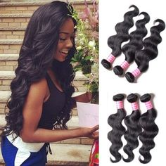 #1 Best Seller BODY WAVE Brazilian 3 Bundle Pack GREAT DEAL with 50% OFF LACE CLOSURE Wavy Virgin Hair Weave Extensions 100 Human Hair GUARANTEED or MONEY BACK Natural Black Color