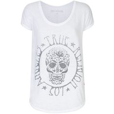 True Religion Embellished Skull Burnout T-Shirt ($88) ❤ liked on Polyvore featuring tops, t-shirts, burn out tee, true religion t shirts, loose fitting tops, loose tops and loose fit t shirts