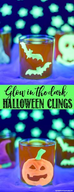 How to make glow-in-the-dark Halloween clings - great to decorate Halloween party cups! MichaelsMakers A Pumpkin And A Princess