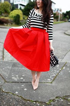 Red Midi Skirt perfection!