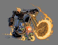"""herochan: """" Ghost Rider and Son Create by Tom McWeeney """" Marvel Comic Character, Marvel Comic Books, Marvel Art, Comic Books Art, Comic Art, Character Art, Ghost Rider Johnny Blaze, Ghost Rider Marvel, Charlie Cox"""
