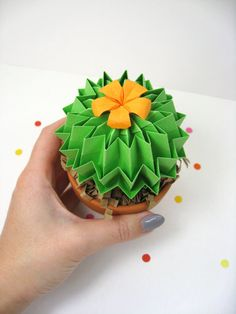 Origami Paper Cactus In Grass Green With yellow Blossom - Home Decor Office Decor House Warming Gift Mothers Day Gift 1st Anniversary Gift
