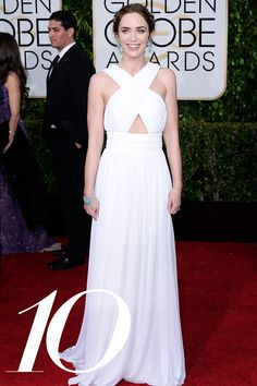 2015 Golden Globes - Emily Blunt in Michael Kors - The new mom looked radiant in an ethereal gown and bohemian plaits, ushering in a new effortlessness to awards season. Getty - HarpersBAZAAR.com