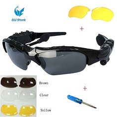 Oldshark® Wireless Music Sunglasses with Stereo Handsfree Bluetooth 4.1 Headset Headphone for iPhone4 / 5 / 5S, Samsung Galaxy S3 S4 S5, Note2 / Note3, HTC, LG and All Smart Phones or PC Tablets with Bluetooth Function + Free Replaceable 3 pair lens (Yellow,Brown,Clear)