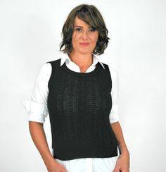 Colete fechado de tricô na cor preto da marca Coleteria ♡ - Coletes femininos e infantis - Coleteria | sempre♡