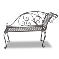 Only US$101.61, Metal Garden Chaise Lounge Antique Brown Scroll-patterned - LovDock.com
