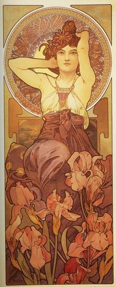 Amethyst - From The Precious Stones Series - Color lithograph - Alphonse Maria Mucha c. 1900