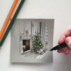 Wishing you all a Merry Christmas! #art #drawing #pen #sketch #illustration #interior #interiordesign #merrychristmas