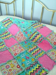 The Cats Went Out Nursery Rhyme Baby Rag Quilt  The PERFECT Baby Gift!  This colorful handmade one of a kind baby rag quilt is a fanciful depiction