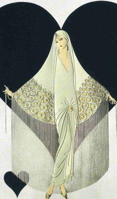 "Erté - Erte - RT - Romain de Tirtoff - Illustration - Art Deco - Young Bride of June - ""Jeune Mariée Juin"""