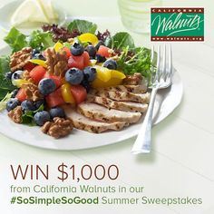 There are so many simple ways to enter the @California Walnuts #SoSimpleSoGood Summer Sweepstakes… just a few clicks for a chance to win $1000!  #walnuts #winbig #summer #sweepstakes http://www.walnuts.org/so-simple-so-good/summer-sweepstakes/