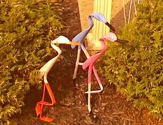 "16"" - 18"" tall depending on pose rockin yard birds made from pvc pipe weather treated comes with 6"" galvinized spike rocks back and forth in the wind  $5each plus shipping unowut411411@yahoo.com"