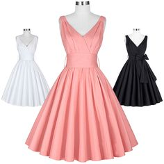 Ladies Retro 1950s Wiggle Flared Dress Vintage Sleeveless Party Swing Dresses #BellePoque #BallGown #Cocktail