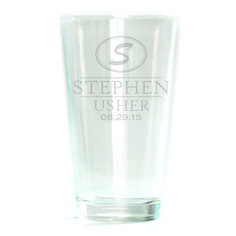 Pub Glass - 16oz - Oval Monogram Personalized with date