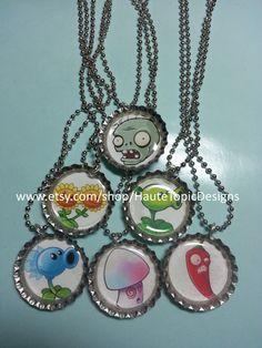 Plants vs Zombies Bottle Cap Necklaces or Key by HauteTopicDesigns