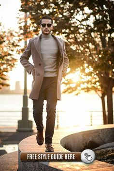 S brown overcoat, grey turtleneck, black dress pants, br Fashion Business, Business Casual Men, Business Attire, Gq, Mantel Outfit, Gentlemen Wear, Mens Fashion Casual Shoes, Skinny, Workout