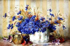 """Still Life with Cornflowers"" by  Francois Rivoire- consider for small study"