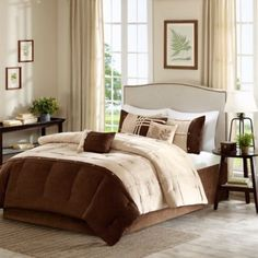Buy Madison Park Rockport 7-Piece Queen Comforter Set in Taupe from Bed Bath & Beyond