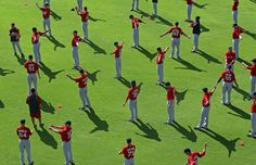 Major League Baseball's The Boston Red Sox perform agility drills during the first part of their workout on the game field at JetBlue Park.
