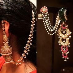 The Best of Jewellery from Vogue Wedding Show 2016 – Preeta Agarwal Workroom Indian Jewelry Earrings, Indian Jewelry Sets, Jewelry Design Earrings, Indian Wedding Jewelry, Gold Earrings Designs, Ear Jewelry, Bridal Earrings, Bridal Jewelry, Silver Jewellery