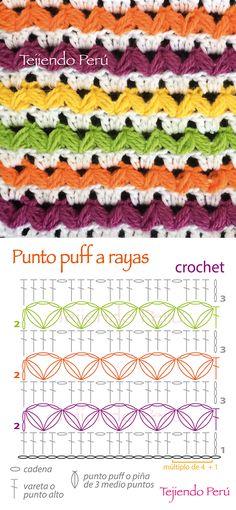 Crochet: diagrama del punto puff a rayas... bonito y fácil de tejer!